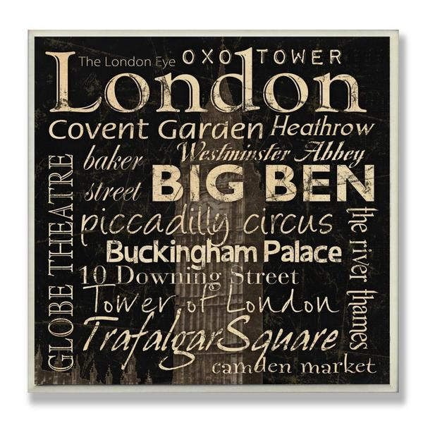 Carole Stevens 'London Landmarks' Square Typography Wall Plaque