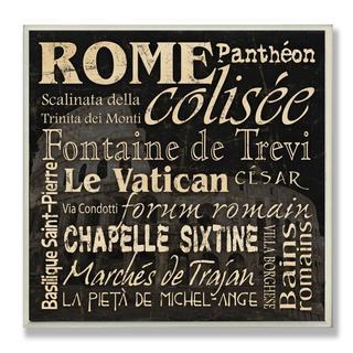 Carole Stevens 'Rome Landmarks' Typography Wall Plaque