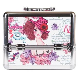 Nicole Lee Sunny White Priscilla Travel Cosmetic Case with Mirror