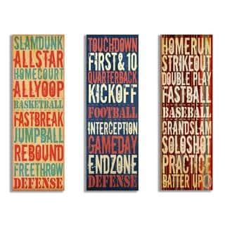 Trio of Sports Typography Plaques