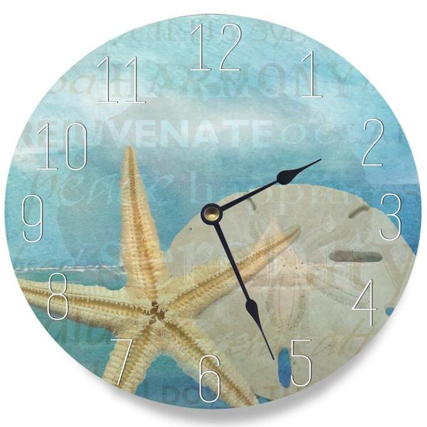 Beach Starfish Light Blue Typography Clock