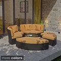 Pursuit Circular Outdoor Wicker Rattan Daybed Set