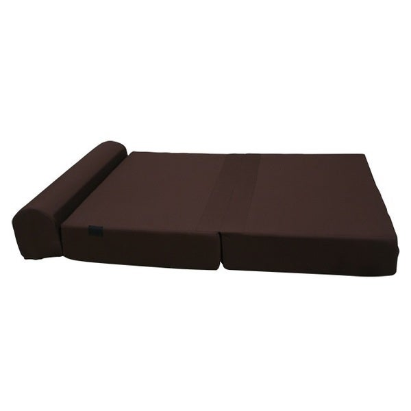 Large 8 Inch Thick Brown Tri Fold Foam Bed Couch