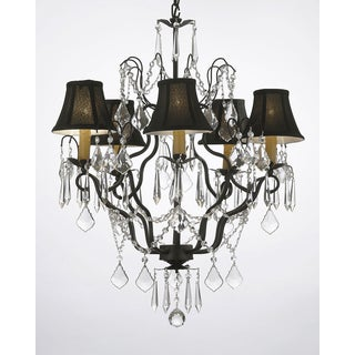 Gallery Versailles Wrought Iron and Crystal 5-light Chandelier with Shades