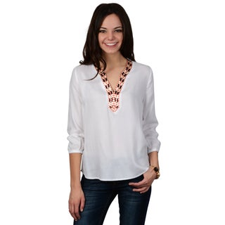 Hailey Jeans Co. Junior's Embroidered Trim V-neck Tunic Top