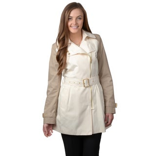 Kenneth Cole Women's Two-Tone Belted Trench Coat