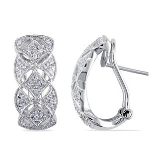 Miadora 14k White Gold 1/6ct TDW Vintage Diamond Hoop Earrings (G-H, I2-I3)