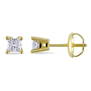 Miadora 14k Yellow Gold 1/2ct TDW Diamond Solitaire Earrings (G-H, I1-I2)