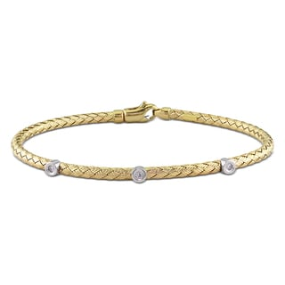 Miadora 14k Yellow Gold Round-cut Diamond Accent Bracelet