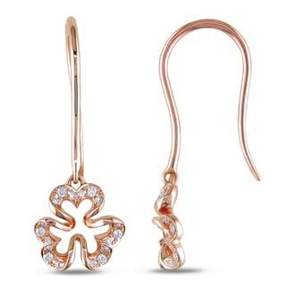 Miadora 14k Rose Gold 1/10ct TDW Diamond Flower Earring (G-H, SI1-SI2)