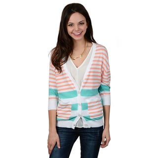 Hailey Jeans Co. Junior's Button-up Striped Cardigan