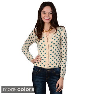 Hailey Jeans Co. Junior's Button-up Dot Print Cardigan