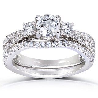 Annello 14k White Gold 1 1/2ct TDW Three Stone Diamond 2-piece Bridal Rings Set (H-I, I1-I2)