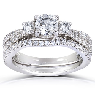Annello 14k White Gold 1 1/2ct TDW Three Stone Diamond 2-piece Bridal Rings Set (H-I, I1-I2) with Bonus Item