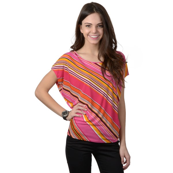 Journee Collection Junior's Striped Short-sleeve Top