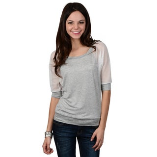 Hailey Jeans Co. Junior's Mesh Sleeve Banded Top