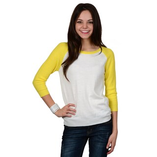 Hailey Jeans Co. Junior's Two-tone Dolman Sleeve Top