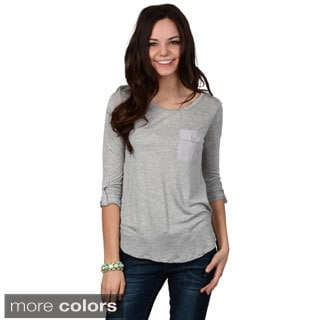 Hailey Jeans Co. Junior's Pocket Detail Roll-sleeve Top