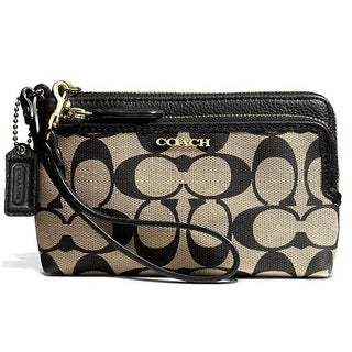 Coach Madison Double Zip Wristlet In Signature Fabric