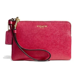 Coach Small Saffiano Leather Wristlet - Light Gold/Pink Scarlet