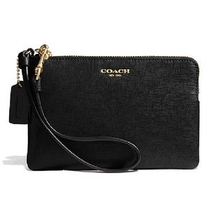 Coach Small Saffiano Leather Wristlet - Brass/Black