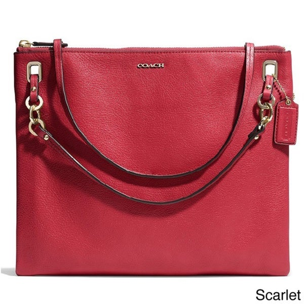 Coach 'Madison' Scarlet Leather Convertible Hippie Bag