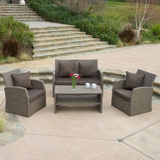 Christopher Knight Home Sanger Outdoor Four Piece Mixed Cream Black Seating Set