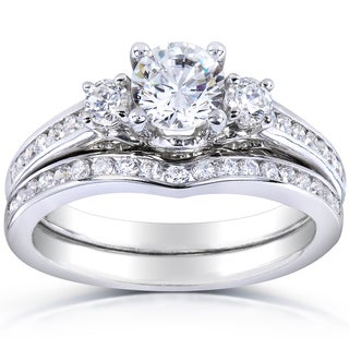 Annello 14k White Gold 1 1/4ct TDW Three Stone Diamond 2-piece Bridal Ring Set (H-I, I1-I2)