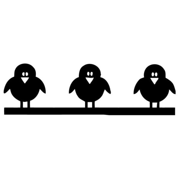 Cartoon Birds Children's Black Vinyl Wall Decal Sticker