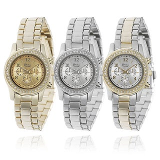 Geneva Platinum Women's Link Watch with Bonus CZ Stud Earring Set