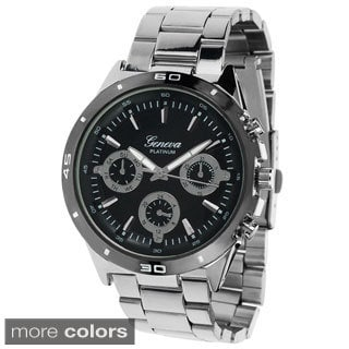 Geneva Men's Chronograph Link Watch with Bonus CZ Stud Earrings