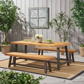 Christopher Knight Home Carlisle Rustic Metal 3pc Outdoor Dining Set