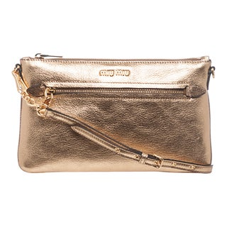 Miu Miu Madras Metallic Leather Shoulder Bag