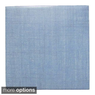 Modern Ceramic Wall Tile Blue Woven Fabric (Pack of 20)