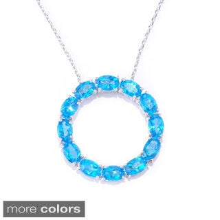 Sterling Silver Topaz Circle Gemstone Pendant Necklace