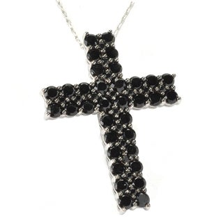 Sterling Silver Black Spinel Cross Pendant Necklace