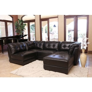 Abbyson Living Ella 5-piece Black Modular Italian Leather Sectional