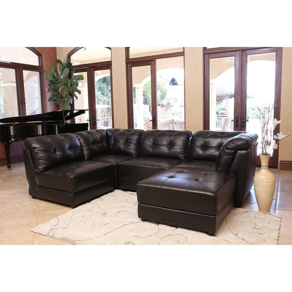 abbyson living glendale premium top grain leather sectional sofa