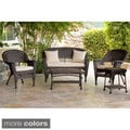5-piece Espresso Wicker Conversation Set with Cushions