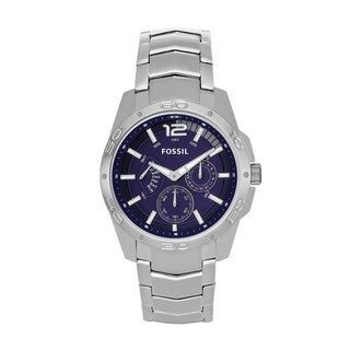 Fossil Men's Stainless Steel Blue Analog Dial Multi-function Watch