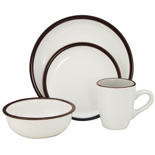 Lorren Home Trends Two-tone Ivory/ Brown 16-piece Stoneware Set
