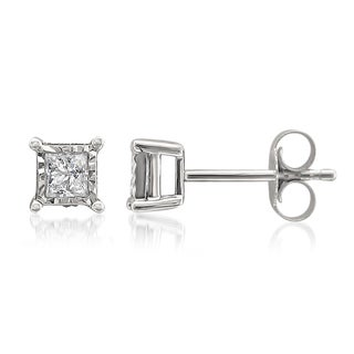10k White Gold 1/2ct TDW Illusion-set Princess Diamond Stud Earrings (G-H, I2)