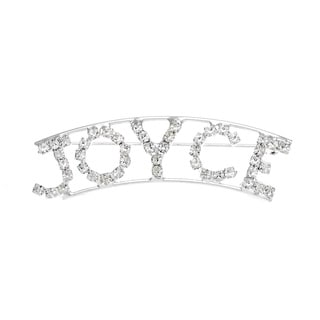 Silverplated 'Joyce' Crystal Name Pin