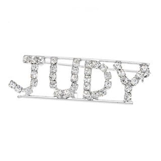 Detti Originals Silver 'JUDY' Crystal Name Pin