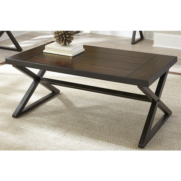 Oldham Trestle Style Coffee Table Overstock Shopping Great Deals On Coffee Sofa End Tables