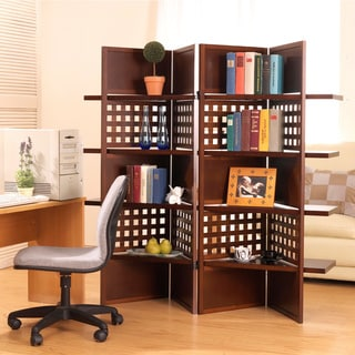 Walnut Finish 4-panel Screen with Shelves Room Divider