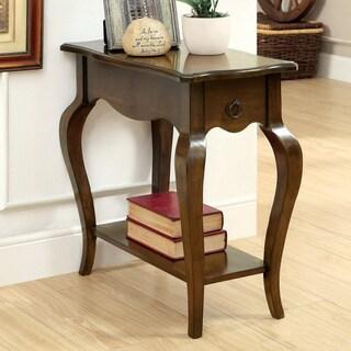 Furniture of America Prozilla Tobacco Oak Elegant Side Table with Storage Drawer