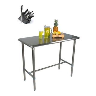 John Boos BBSS483024-40 Cucina Americana Classico 48 x 30 x 40 Table and Henckels 13-piece Knife Block Set