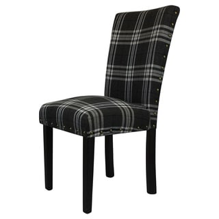 Arbonni Modern Parson Dark Cross Line Upholstery Chairs (Set of 2)