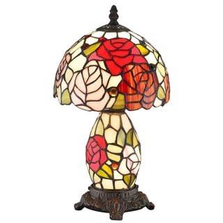 Amora Lighting Roses Double Lit 2-light Tiffany Style Mini Table Lamp